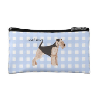 Airedale Terrier Blue Gingham Makeup Bag