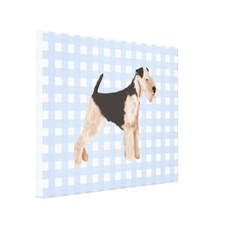 Airedale Terrier Blue Gingham Canvas Print