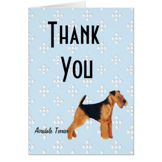 Airedale Terrier ~ Blue w/ White Diamonds Design Stationery Note Card