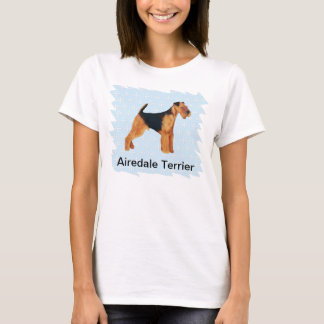 Airedale Terrier ~ Blue w/ White Diamonds Design T-Shirt