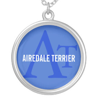 Airedale Terrier Breed Monogram Silver Plated Necklace