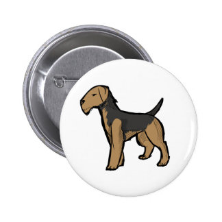 Airedale terrier pinback button