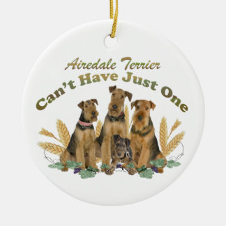 Airedale Terrier Can't Have Just One Double-Sided Ceramic Round Christmas Ornament