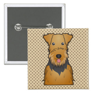 Airedale Terrier Cartoon Pinback Buttons
