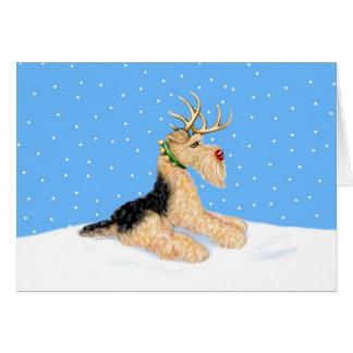 Airedale Terrier Christmas Dale Deer Greeting Card