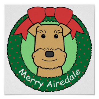 Airedale Terrier Christmas Poster