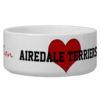 Airedale Terrier Dog Breed Red Heart Custom Bowl