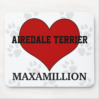 Airedale Terrier Dog Breed Red Heart with Name Mouse Pad