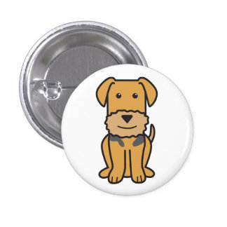 Airedale Terrier Dog Cartoon Pinback Buttons