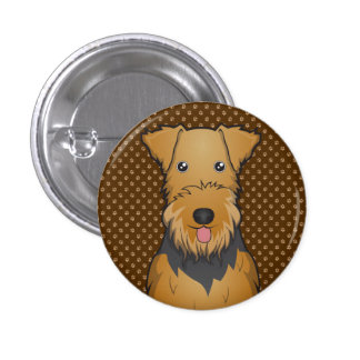 Airedale Terrier Dog Cartoon Paws Pinback Button