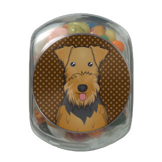 Airedale Terrier Dog Cartoon Paws Glass Candy Jars
