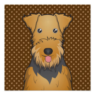 Airedale Terrier Dog Cartoon Paws Photo Print