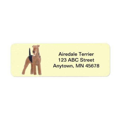 Airedale Terrier Dog Customizable Return Address Labels