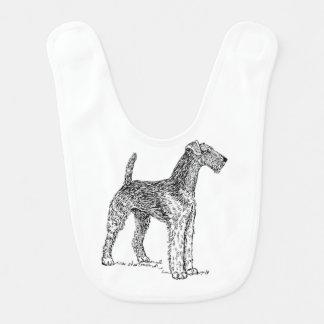 Airedale Terrier Elegant Dog Drawing Baby Bibs