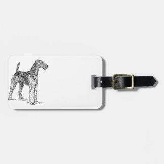 Airedale Terrier Elegant Dog Drawing Bag Tag