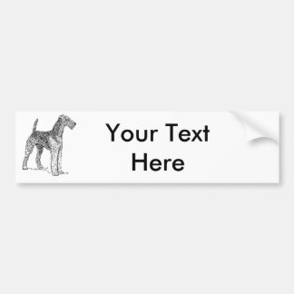 Airedale Terrier Elegant Dog Drawing Bumper Sticker