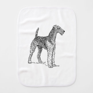 Airedale Terrier Elegant Dog Drawing Burp Cloth