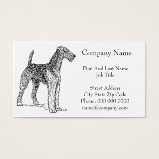 Airedale Terrier Elegant Dog Drawing Business Card