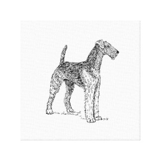Airedale Terrier Elegant Dog Drawing Canvas Print