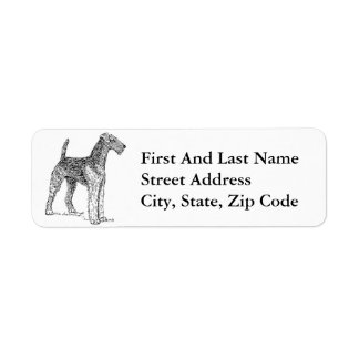 Airedale Terrier Elegant Dog Drawing Label