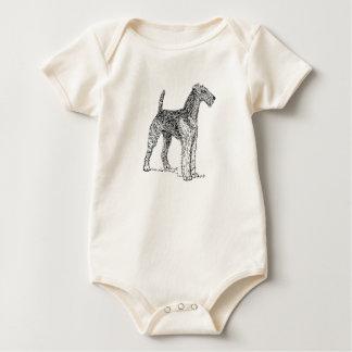 Airedale Terrier Elegant Dog Drawing Romper