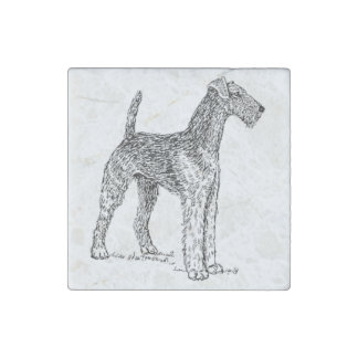 Airedale Terrier Elegant Dog Drawing Stone Magnet