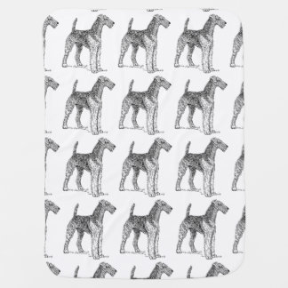 Airedale Terrier Elegant Dog Drawing Stroller Blanket
