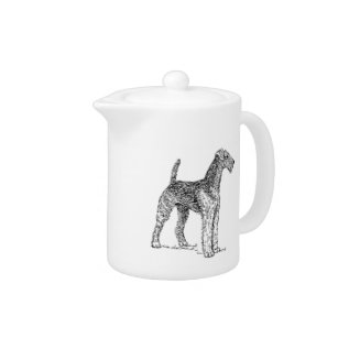 Airedale Terrier Elegant Dog Drawing Teapot at Zazzle