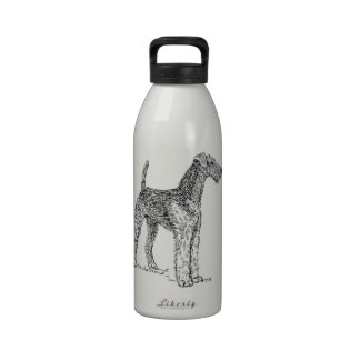 Airedale Terrier Elegant Dog Drawing Reusable Water Bottle
