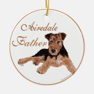 Airedale Terrier Fathers Day Ceramic Ornament