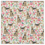Airedale Terrier floral fabric