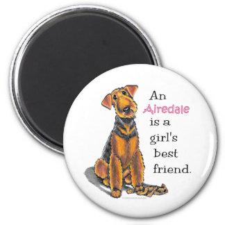 Airedale Terrier Girls Best Friend 2 Inch Round Magnet