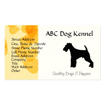 Airedale Terrier Gold Leaves Business Card Template