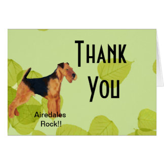 Airedale Terrier ~ Green Leaves Design Card
