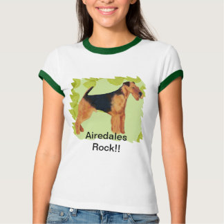 Airedale Terrier ~ Green Leaves Design T-Shirt