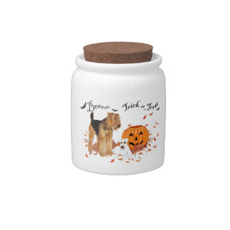 Airedale Terrier Halloween Candy Jar
