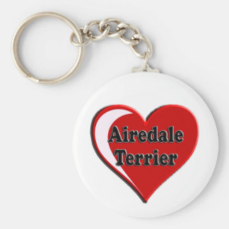 Airedale Terrier Heart Keychain