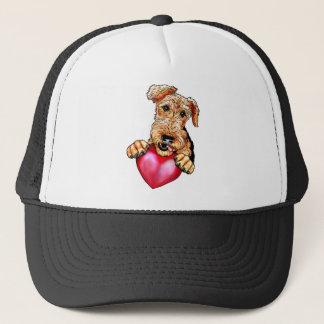 Airedale Terrier Holding Heart Trucker Hat