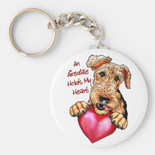 Airedale Terrier Holds My Heart Keychain