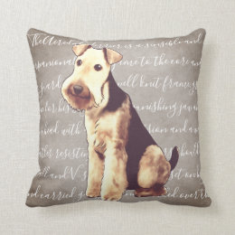 Airedale Terrier Illustration Pillow