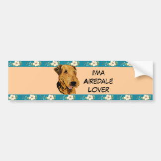 Airedale Terrier - I'ma Airedale Lover Floral Car Bumper Sticker