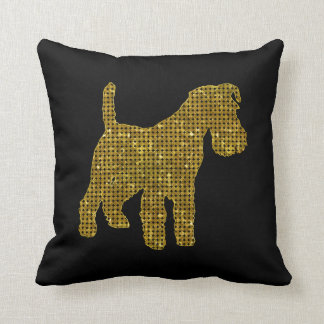 Airedale Terrier in Gold Sequin Throw Pillow
