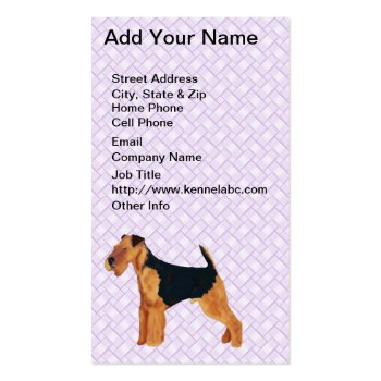 Airedale Terrier Lavendar Weave Business Card