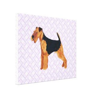 Airedale Terrier Lavendar Weave Canvas Print