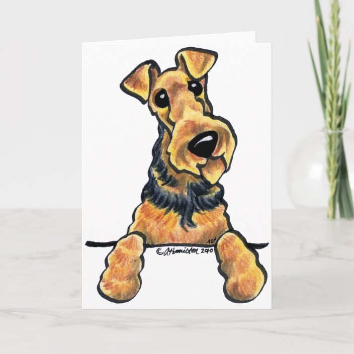 Airdale Terrier Dog A6 Christmas Card Design XAIRE-5 by paws2print