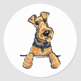 Airedale Terrier Line Art Classic Round Sticker