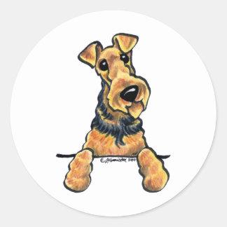 Airedale Terrier Line Art Round Sticker