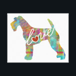 """Airedale Terrier Love (Watercolor) Canvas Print<br><div class=""""desc"""">A great gift for any dog lover! This contemporary piece simply reads, &quot;love&quot; and features your favorite pup as a unique and colorful piece of art. This is available on t-shirts, hoodies, baby clothing, gift items, and more! If you are looking for a different breed please check my &quot;dog love&quot;...</div>"""