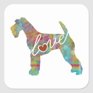 Airedale Terrier Love (Watercolor) Square Sticker