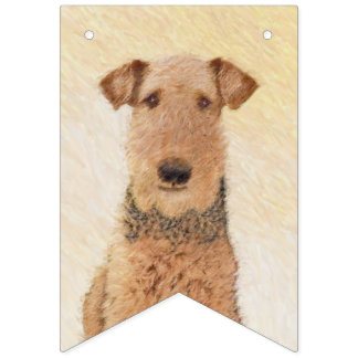 Airedale Terrier Painting - Cute Original Dog Art Bunting Flags